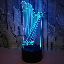 Christmas Gift Harp 3D Night Lights Colorful Touch