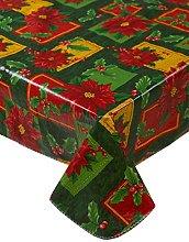 Christmas Green Poinsettia Pattern PVC Tablecloth