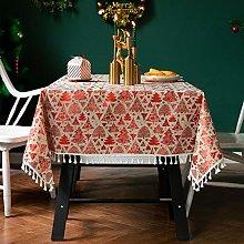 Christmas Halloween Theme Tablecloth Cotton Linen