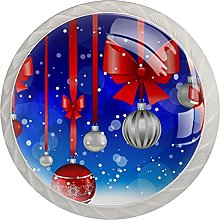 Christmas Hanging Ball with Red Bow 4 Pieces
