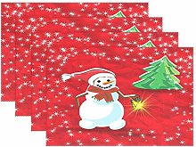 Christmas Holiday Red Snowman PlaceMats Table mats