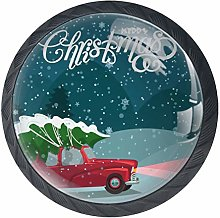 Christmas Images Black Crystal Glass Round Cabinet