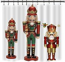 Christmas Nutcracker Bath Curtain Set,Durable