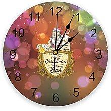 Christmas Party PVC Wall Clock, Silent Non-Ticking
