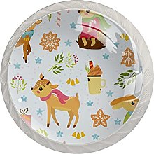 Christmas Pattern with Deers 4 Pack Drawer Pulls