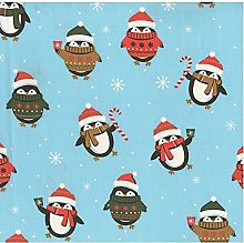 Christmas Penguins Poly-Cotton Fabric by The Metre