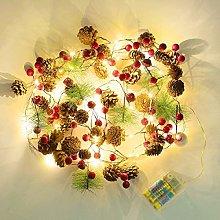 Christmas Pine Cones Garland Wreath LED Fairy