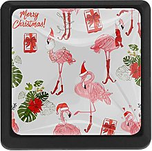Christmas Pink Birds Pattern Square Cabinet Knobs