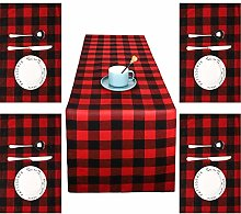 Christmas Plaid Table Runner Table Linens and 6