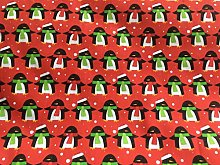Christmas Polycotton Fabric - RED PENGUINS -