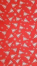 Christmas Polycotton Fabric - RED & WHITE