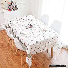 Christmas Printed Tablecloth Table Lines Xmas Tree