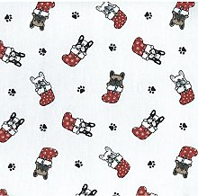 Christmas Pugs Poly-Cotton Fabric by The Metre