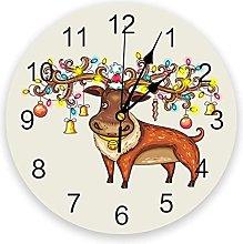 Christmas PVC Wall Clock, Silent Non-Ticking Round