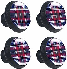 Christmas Red Dark Blue Plaid Cabinet Door Knobs
