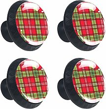 Christmas Red Green Plaid Cabinet Door Knobs