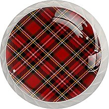 Christmas Red Plaid Pattern (4 Pack) Cabinet Pulls