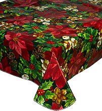 Christmas Red Poinsettia Pattern PVC Tablecloth