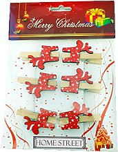 Christmas Reindeer Wooden Pegs In A Pack Of 6,