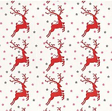 Christmas Reindeers Poly-Cotton Fabric by The