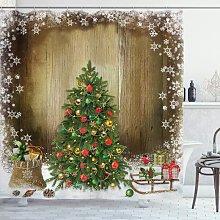 Christmas Shower Curtain, Fabric Bathroom Decor