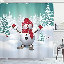 Christmas Shower Curtain, Ski Snowman Trees,