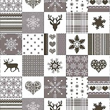 Christmas Silver Grey Reindeer Patchwork PVC Vinyl