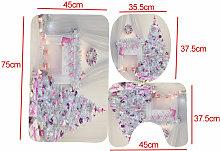 Christmas Snow Bathroom Mat Lid Toilet Rug Set pink