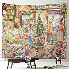 Christmas Snow Scene Polyester Tapestry Decoration