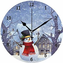 Christmas Snow with Snowman Wall Clock, Silent Non
