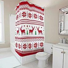 Christmas Snowflake Elk Shower Curtain Anti-Mould