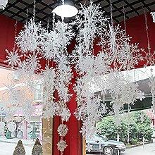Christmas Snowflake Ornament, 5 Sizes 60PCS White