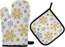 Christmas Snowflakes Oven Mitts Gold Silver