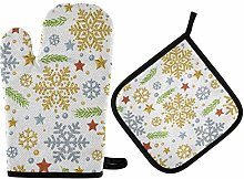 Christmas Snowflakes Oven Mitts Gold Silver Twig