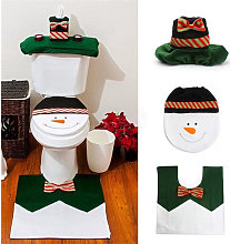 Christmas Snowman Bath Rug Set, Toilet Cover,3PCS