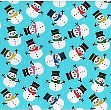 Christmas Snowman Poly-Cotton Fabric by The Metre