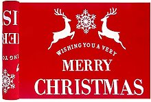 Christmas Table Runner,106.3x11 Inches Linen Merry