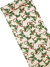 Christmas Table Runner Linen White with Holly and