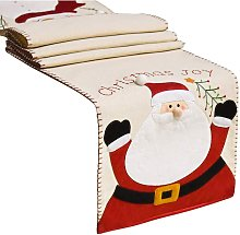 Christmas Table Runner with Santa Snowman Pattern,