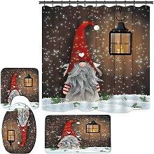 Christmas Theme Shower Curtain Set, Gnomes Shower