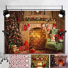 Christmas theme tree stove sock fireplace