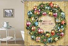 Christmas tree fireplace 3D Digital Printed Shower