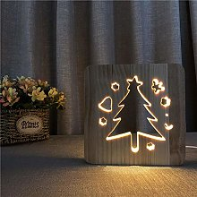 Christmas Tree LED Wooden Night Light Solid Wood
