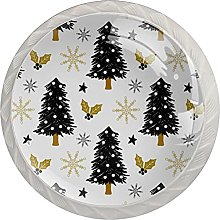 Christmas Tree Painting 4 Pieces Crystal Cabinet