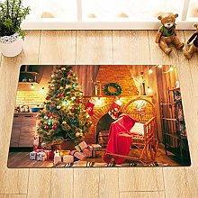 Christmas tree rustic brick fireplace garland The