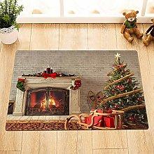Christmas tree sleigh brick wall fireplace The