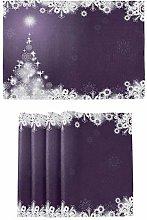 Christmas Tree Snowflake Purple Placemats Kitchen