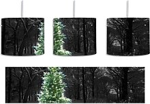 Christmas Trees in a Wintery Forest 1-Light Drum