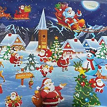 Christmas Village Scene Tablecloth Fabric by The