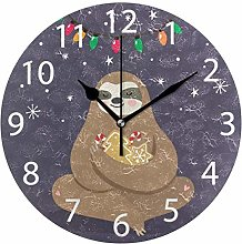 Christmas with Light Round Wall Clock, Silent